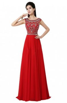 Exquisite A-line Jewel Floor-length Bridesmaid/Prom/Homecoming Dress With Beads (Seven)