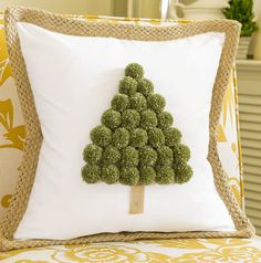 Christmas Tree Pom Pom Pillow – 37 super easy diy christmas crafts ideas for kidslaser cut ornament wooden christmas tree ideawhat do your christmas decorations say about you Christmas Makes, All Things Christmas, Christmas Fun, Christmas Decorations, Beautiful Christmas, Christmas Projects, Holiday Crafts, Spring Crafts, Christmas Cushions