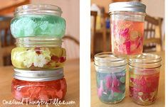 Liquid Potpourri      2 cups liquid potpourri     4 individual envelopes of unflavored gelatin     2 tbsp. salt     heat-safe containers (I used my favorite container for all sorts of DIY homemade products…Mason jars!)