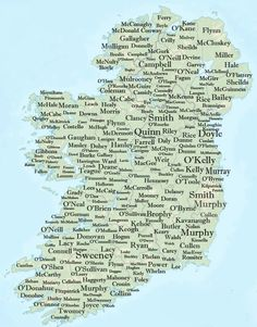 "Surnames - The top 100 surnames in Ireland. Note: variants of the same surname are shown together with the percentage of the total. For example Kelly 97, O'Kelly 3 means that 3% of the Kelly clan use the ""O"" prefix and so on. 1 Murphy 2 Kelly 97, O'Kelly 3 3 Walsh 94, Walshe 6 4 O'Connor 89, Connor 9, Connors 2 5 O'Sullivan 89, Sullivan 11 6 Byrne 95, O'Byrne 5 7 O'Brien 98, Brien 2 8 Ryan 9 Smith 52, Smyth 48 10 O'Neill 92, Neill 8 11 O'Reilly 61, Reilly 39 12 M(a)cCarthy 97, Carthy 3 13…"