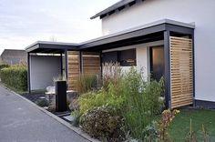Carport in modern house. House Front, My House, Parrilla Exterior, Front Door Canopy, Carport Garage, Carport Designs, Carports, Entrance Doors, Diy Pergola