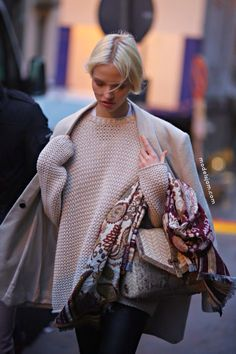Sasha Luss Style - #celebrity #model #style #milan #february #2014 #pale #sweater #knitted #outfit #winter