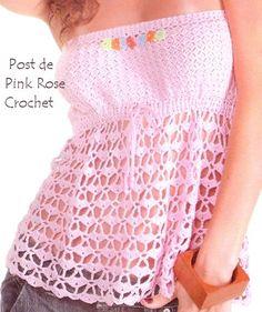 Pink Rose Crochet: Blusa Bata Verão Tomara que Caia
