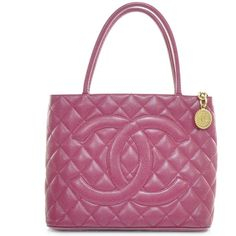 CHANEL Caviar Medallion CC Tote Fuchsia Pink GHW ❤ liked on Polyvore