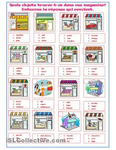 SHOPS worksheet - Free ESL printable worksheets made by teachers French Teacher, Teaching French, Teaching English, French Lessons, English Lessons, English Tips, Learn French, Learn English, Formation Continue