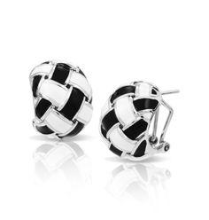 Capri Jewelers Arizona ~ www.caprijewelersaz.com Belle Etoile - Cestina Black and White Enamel Earrings.