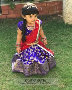 Benaras Half Saree by kavitha Gutta - Indian Dresses Kids Dress Wear, Kids Gown, Dresses Kids Girl, Kids Outfits, Kids Wear, Baby Dresses, Baby Lehenga, Kids Lehenga, Kids Saree