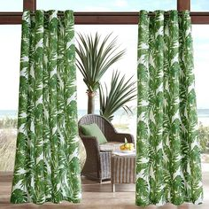 Madison Park Navio 3M Scotchgard Outdoor Curtain, Green