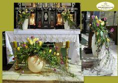 tulipany w ceramice dominikanie Church Flowers, Kirchen, Tulips, Flower Arrangements, Places To Visit, Table Decorations, Altars, Inspiration, 1 Logo
