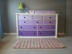 Purple ombre  dresser/changing table that we painted for Sophia