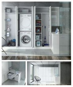 Do you need a washing and ironing area at home We propose you a solution co Laundry Cupboard, Laundry Cabinets, Laundry Closet, Laundry Room Storage, Laundry Room Design, Laundry In Bathroom, Interior Design Living Room, Living Room Designs, Küchen Design