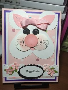 handmade Easter card by Frenchie Hum ... punch art heart face bunny ... cute! ... Stampin' Up!