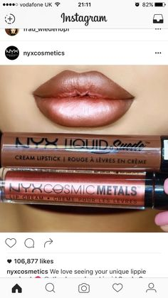 NYX Professional Makeup Liquid Suede Cream Lipstick The new Liquid Suede liquid lipsticks and Cosmic Metals Lip Creams are HOT FIRE Shades worn: -Downtown Beauty liquid suede - Speed of Light Cosmic Metal Lip Cream Makeup Goals, Love Makeup, Makeup Inspo, Makeup Inspiration, Makeup Ideas, Amazing Makeup, Makeup Hacks, Gorgeous Makeup, Liquid Suede Cream Lipstick