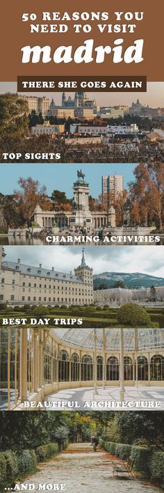 Here are 50 reasons you need to visit Madrid, Spain! From things to do, the architecture, day trips from the city, and more! Cruise Europe, Europe Travel Tips, Places To Travel, Travel Plan, Travel List, Travel Ideas, Travel Destinations, Portugal Travel, Spain And Portugal