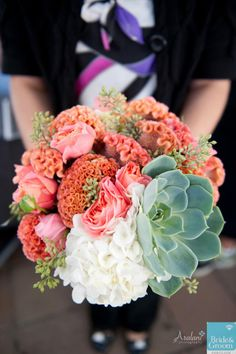 Hydrangea, Cockscomb, roses, seeded eucalyptus, succulents ~Sophisticated Floral Designs
