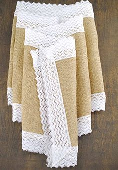 8.99 SALE PRICE! Accessorize your table with this simple Jute & Lace Table Runner. Whether for a shabby chic wedding, or an outdoor party, this stylish runne...