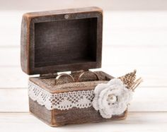 Wedding Ring Box Ring Holder Pillow Bearer by HandmadeDecoupage
