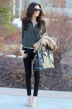 78ce3c191 Black polka dot shirt, white belt, black ankle pants Ropa De Trabajo,  Pantalones