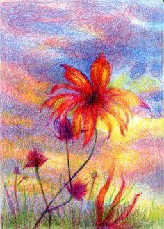 The Sun's Last Gasp-Zebra Pen Zensations Colored Pencil in Hahnemühle A5 Watercolor book