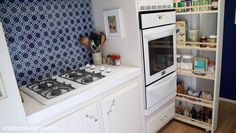 Kitchen Updating Ideas DIY Pull Out Kitchen Storage Cabinet - My rental apartment has a small kitchen and though it has a lot of storage, it doesn't have a lot of it that's within easy reach (I'm short! But it does happe… Pull Out Kitchen Storage, Hidden Kitchen, Kitchen Cabinet Storage, Pantry Can Organization, Organizing, Kitchen Items, Kitchen Stuff, Kitchen Decor, Small Spaces