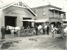 Ipswich Ambulance Depot in 1900. (Queensland Ambulance Transport Brigade Hospital).A.E. Roberts Carriage Works built vehicles and equipment for the Ipswich Ambulance Transport Brigade.A.E.Roberts Snr is in the cenre of the photo.The depot wad located at the corner of Downs and Flint Sts,Ipswich,Queensland.A♥W