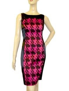 edc38ca730 BNWT MARINA KANEVA BLACK CERISE LADIES DOGTOOTH PANELLED SILK SHIFT DRESS  UK8-16