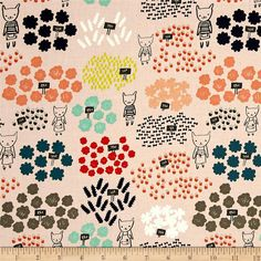 Cotton + Steel Flower Shop Flowers For Sale Peach Fabric Patterns, Flower Patterns, Cool Diy Projects, Sewing Projects, Christian Robinson, Neon Yellow, Coral Aqua, Flowers For Sale, Funky Design
