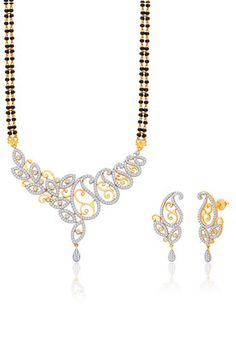 18 Karat Gold And Rhodium-Plated Mangalsutra Set With Swiss Zircons Pm88Gj