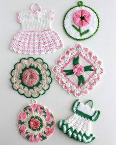 Vintage Pink Floral Potholder Crochet Patterns PDF