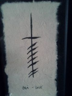This is called an Ogham Wish. It's a series of 'words' written in the first Irish alphabet. The word and symbol for Love in Celtic was gra'. This Ogham Wish is handmade by a woman in Ireland.