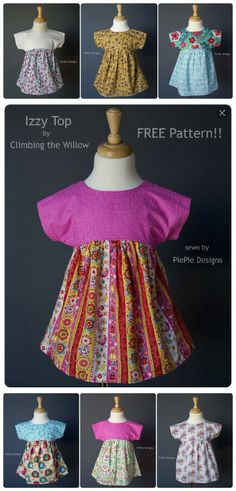 The Izzy Top pattern comes in sizes 18m-12!  To download it, click here. Free