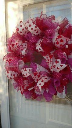 Valentine Wreath by BCsCraftyCreations on Etsy, $55.00