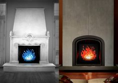 This retro artwork for your fireplace by artist James Bit is inspired by one of the infamous fireballs seen in the caves and dungeons throughout the video game, The Legend of Zelda!