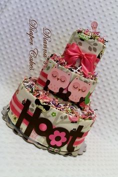 Pink Owls Baby Diaper Cake Shower Gift or Centerpiece
