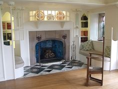 Blackwell - White Room Fireplace by Mackay Hugh Baillie Scott Arts And Crafts For Teens, Art And Craft Videos, Arts And Crafts House, Home Crafts, Arts And Crafts Interiors, Arts And Crafts Furniture, Art Nouveau, Arts And Crafts Movement, White Craft Room