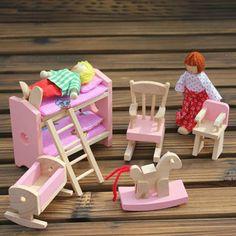 Ahşap bebek ranza yatak çocuklar için çocuk play set mobilya dollhouse minyatür oyuncak eğitici oyuncak ahşap toys bebek toys hediye