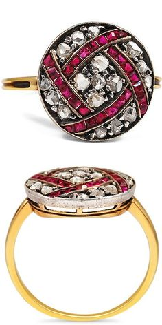 THE ASAKA RING This stunning and unique ring features seventeen romantic rose cut diamonds and twenty four French cut rubies in a graphic design evocative of the Art Deco era (approx. 0.34 total carat weight).