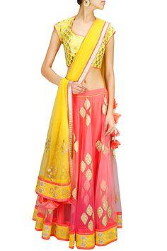 Pink and yellow chanderi brocade applique lehenga set BY AMRITA THAKUR. Shop now at: www.perniaspopups... #perniaspopupshop #designer #stunning #fashion #style #beautiful #happyshopping #love #updates