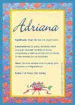 Adriana, significado de Adriana, origen de Adriana, nombres para bebés. Puedes enviar por email, compartir o imprimir nombres, nombres para niños en español