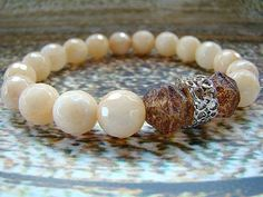 Brown Gemstone Bracelet Jade Bracelet Glass Bead Bracelet