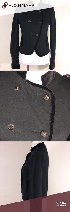 """AEO Black Military Style Jacket American Eagle Outfitters Black Military Style Jacket. Double Breasted Buttons With Crushed Velvet Trim. In Great Condition and a size Small. Shell of Jacket is 100% Cotton Pit to Pit: 18"""" Length: 20 1/4"""" (B7) American Eagle Outfitters Jackets & Coats"""
