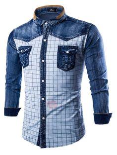 1d854e157b  Spring  AdoreWe  TideBuy -  TideBuy Plaid Color Block Wash Mens Denim Shirt