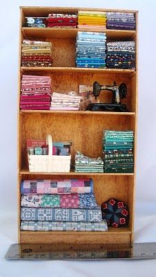 Miniatures Monday--Shelves for Tiny Quilting Studio! Miniature Quilts, Miniature Rooms, Miniature Crafts, Miniature Houses, Miniature Furniture, Doll Furniture, Dollhouse Furniture, Dollhouse Dolls, Dollhouse Miniatures