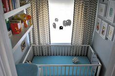 Cute nursery idea.  Closet converted to nursery.  Small but functional.