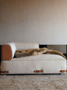 Leather & fabric chaise