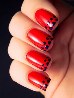 Dot on navy polish (on red nails) with a bobby pin; seal with topcoat. A navy we love: Revlon Nail Enamel in Urban ($5, ulta.com) SARAH WAITE/CHALKBOARDNAILS.COM french manicure