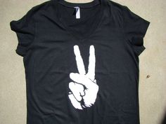 Peace Sign T Shirt - Bella - Black Vneck tshirt - Black and White