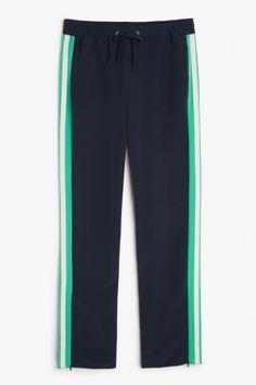 Monki Side stripe trousers in Blue Dark