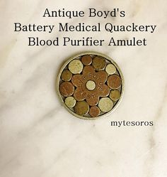 $95.00.  Do ya need your blood purified??? I got just the thing for ya! This AnTiQUE BoYD's GaLVANIC BaTTERY bLOOD PuRIFIER COIN AMULET looks great on a chain and works just as well as it did when it was made in 1879. When your skin get moist a galvanic action occurs and VIOLA, the battery is activated!  ️️️️️️️️️  If you're interested in buying this product, I also have a few EXCLUSIVE beach front properties in Tucson, Arizona for sale.   www.etsy.com/listing/5413