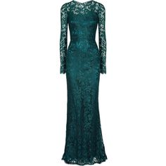 Dolce & Gabbana Lace gown (£1,260) ❤ liked on Polyvore featuring dresses, gowns, vestidos, long dresses, emerald, long blue dress, blue evening dresses, lace evening dresses and lace ball gown